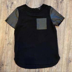 """Ann Taylor"" Leather Detail Short Sleeve Blouse"